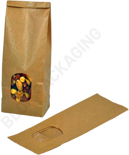 Blokbodemzakjes met venster 105 + 65 x 300 mm bruin kraft - per 100 stuks