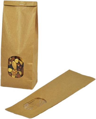 Blokbodemzakjes met venster 105 + 65 x 300 mm - 80 grams bruin kraft </br>per 100 stuks