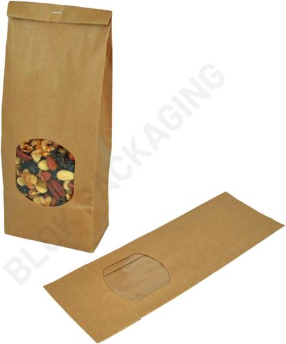Blokbodemzakjes met venster 130 + 70 x 360 mm bruin kraft - per 100 stuks