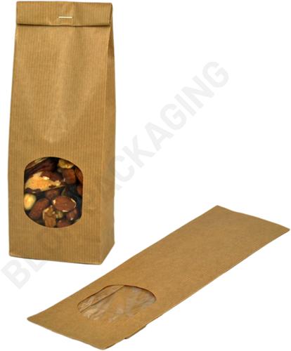 Blokbodemzakjes met venster 80 + 50 x 250 mm bruin kraft - per 100 stuks