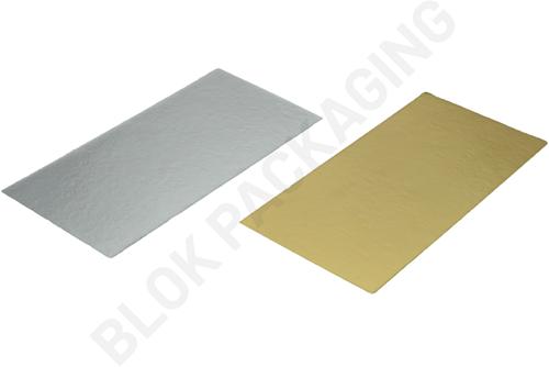 Bodemkarton voor blokbodemzakjes 160 x 80 mm - Zilver/goud - per 100 stuks