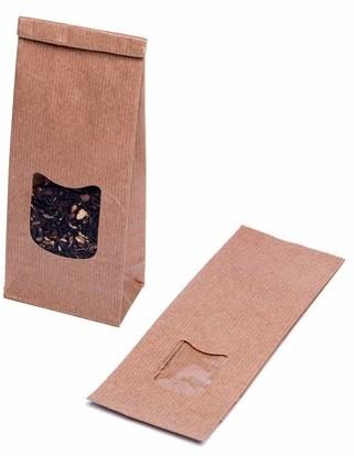 Blokbodemzakjes met venster 80 + 50 x 250 mm - 80 grams bruin kraft</br>Per 100 stuks