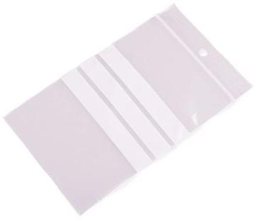 Gripzakken met schrijfvlakken 80 x 120 mm - 90 micron LDPE</br>Per 1000 stuks