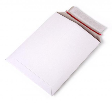 Kartonnen enveloppen 176 x 250 mm - 450 grams wit karton</br>Per 100 stuks