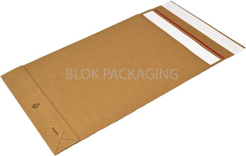 E-Green verzendzakken 250 + 50 x 350 mm met blokbodem - 126 grams bruin kraft</br>Per 250 stuks