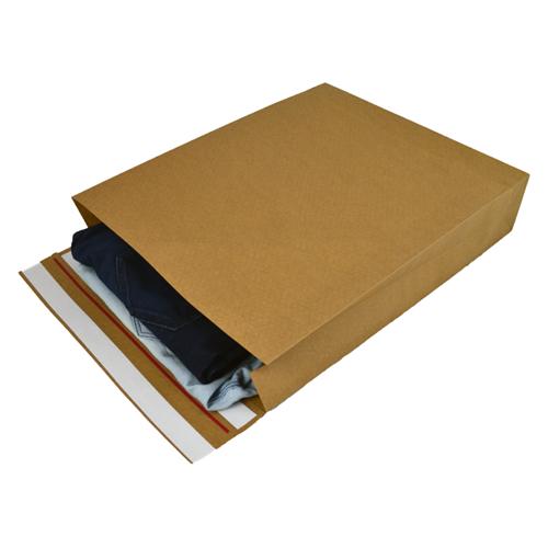 Verzendzakken kraftpapier 400 + 100 x 500 mm (E-Green) - per 100 stuks