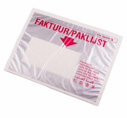 Paklijst envelop A6 - Meertalig - Venster links</br>Per 1000 stuks