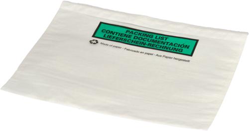 Paklijst envelop A5 - Bedrukt 3-talig - Papier</br>Per 1000 stuks